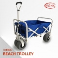 Blue All-Terrain Folding Camping Beach Wagon Cart/Beach Trolley with Telescoping Handle - Y30006